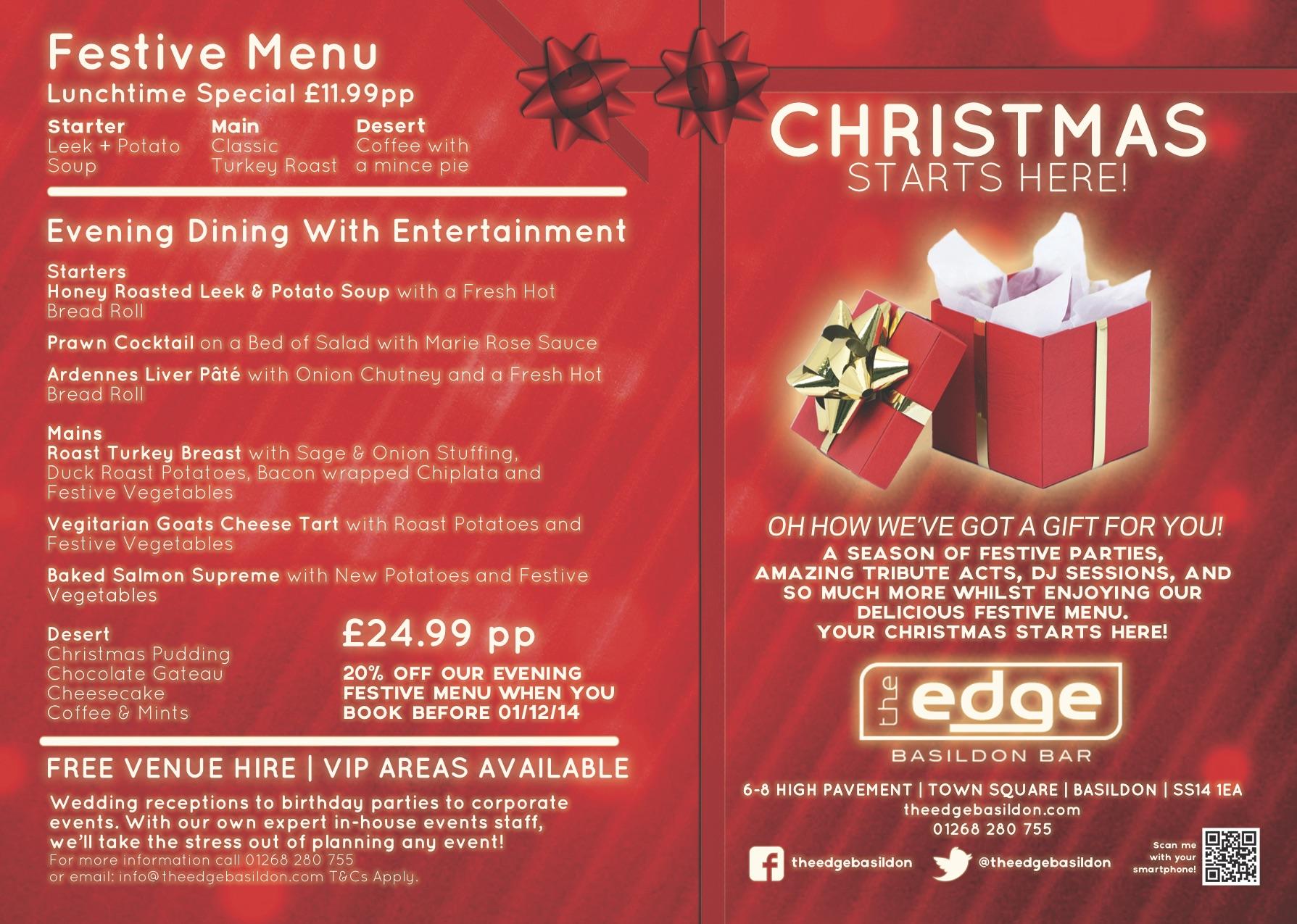 Xmas Events 14 The Edge Basildon Bar With Live Music Djs And