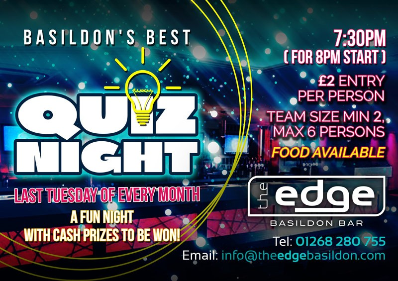 Quiz Night | The Edge | Basildon Bar with Live Music, DJs